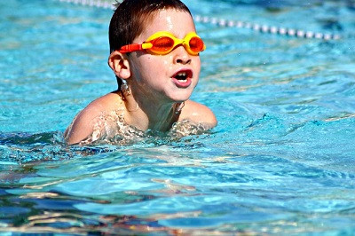 A boy swimming